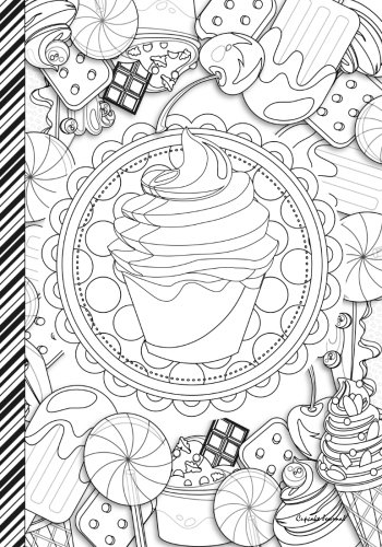 Cupcake Journal: Cupcake and Sweets Journal / Notebook: Color Me - Color The Cover (Adult Coloring Cover) : 7x10 lined -