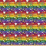 ABAKUHAUS Hippie Stoff als Meterware, Herz-Friedens-Ikone