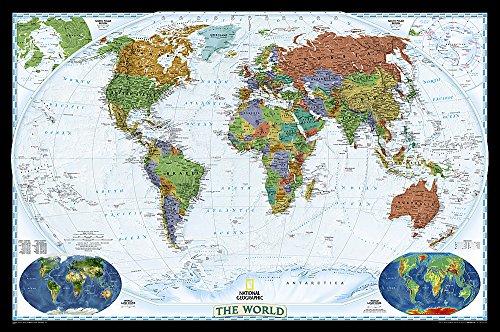 **World Political Decorator Plastifie107.5 Cm X 75 Cm: PP.NGW622077: Laminated Decorator Line (World Maps)