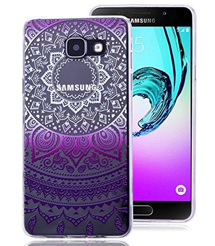 Roreikes Schutzhülle für Samsung Galaxy A5 (2016) A510F, Crystal Case Hülle aus TPU Silikon mit Indische Sonne Design Schutzhülle Cover klar Transparent hülle Skin Schutz Schale Protective Cover für Samsung Galaxy A5 (2016) A510F - Lila