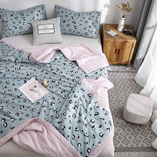 ard Cotton Bedding Tröster für Sommer Kissenbezüge Thin Quilt Blanket für Jugendliche Erwachsene Single Full Size (Color : Grey Leopard, Size : 150x200cm Quilt only) ()