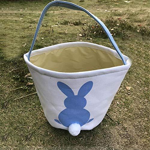 ningxiao586 Ostereiersuche Korb für Kinder Bunny Canvas Tote, Ostern Geschenk Tasche Idee für Party feiern Süßigkeiten Dekoration