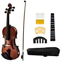 Juarez Legnò Full Size 4/4 Violin Kit, JRV100DB with Bow, Rosin, Fretboard Sticker, Mute, Bridge, Oblong Case, Dark…