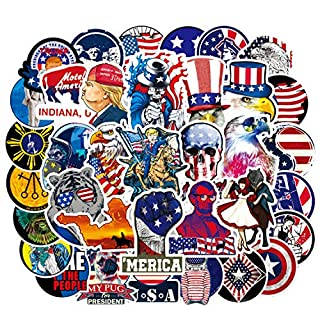 100pcs USA American Flag President Bald Eagle Stickers Decals Packs for Water Bottle Laptop Cellphone Skateboard Bicycle Motorcycle Car Bumper Luggage Travel Case