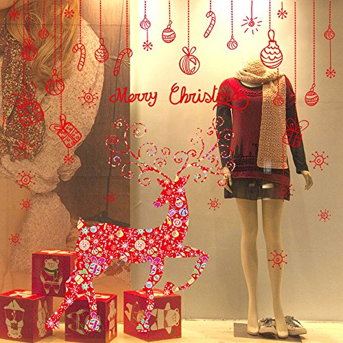 Lucky Shop1234 Rentier Schneeflocke Weihnachten Wand Aufkleber Weihnachten Dekoration Aufkleber Fenster Aufkleber Home Decor für Home Hotel Bar und Store Display des Sichtfenster 001