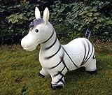 Zebra Hüpftier Hüpfpferd Hüpfesel in weiß. Zebra