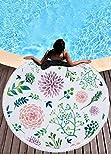 Tropische Pflanzen Floral Indischen Mandala Runde Badetuch, Yoga Matte Picknick Blumen Runde Strandtuch Mandala-Motiv Reisetuch Mehrfunktional üBerwurf Decke Handtuch Pattern5