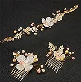 Weddwith Testa accessori Hair styling accessori perla petalo foglia oro set abito da sposa dorato accessori copricapo acconciatura pettinatura sposa gioielli