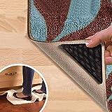 Juego de 4 triángulos de goma antideslizante para pegar en alfombras, reutilizables, color negro