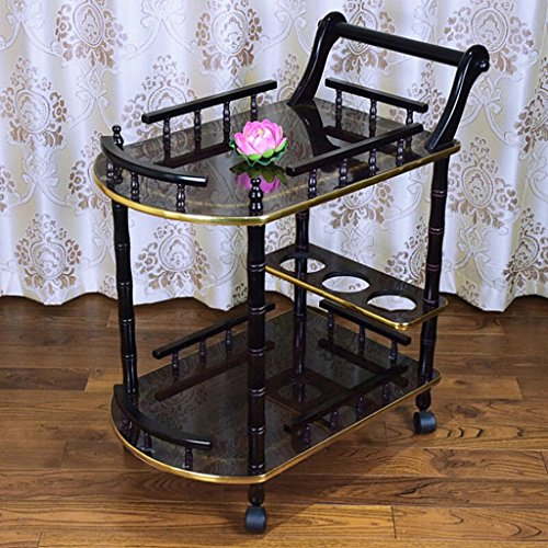 CHDE Regal Laufkatze - Schönheits-Salon-Laufkatzen-Werkzeugwagen-Tisch-bewegliches Lagerregal-Gestell Werkzeugwagen (Color : Black, Size : 60 * 40 * 76cm) (Gestell-regal Schieben)