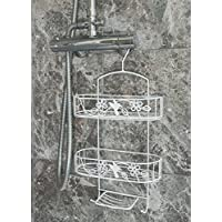 Direct Online Houseware 2 Tier White Hanging Shower Caddy With Soap Holder (Metal)
