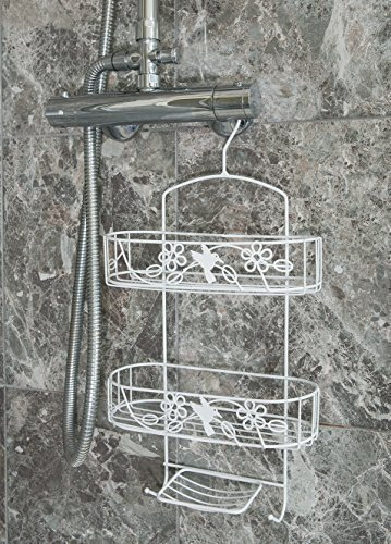 2 Tier White Hanging Shower Caddy With Soap Holder (Metal)
