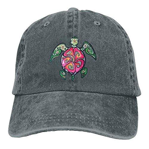 2018 Adult Fashion Cotton Denim Baseball Cap Hibiscus Honu Hawaiian Sea Turtle Classic Dad Hat Adjustable Plain Cap -