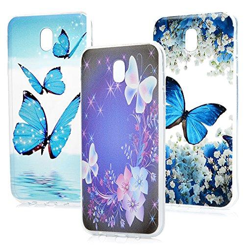 J5 2017 Hülle MAXFE.CO Handytasche für Samsung J5 2017 TPU Silikon Tasche Fantasie Schmetterling + Schmetterling + blauer Schmetterling Muster Weich Backcover Handyhülle Dünn Etui Case