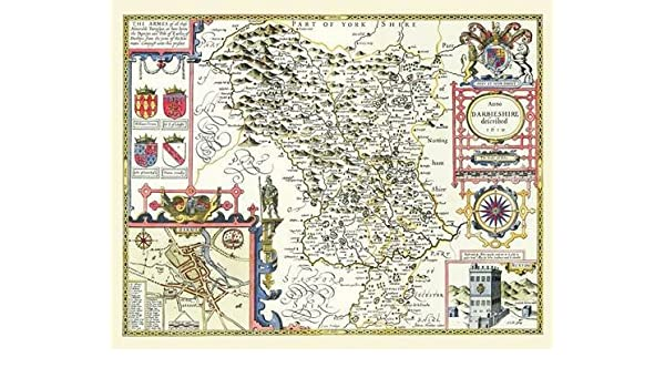 Map Of England Derbyshire.John Speed Map Of Derbyshire 1611 20 X 16 Photographic Print Of