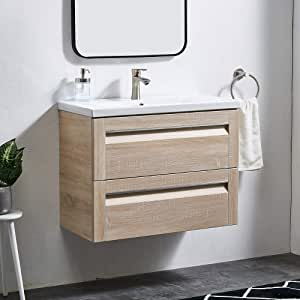 Bathroom Vanity Unit With Sink And 2 Large Storage Drawers Glanzhous 600mm Light Grey Modern Wall Hung Vanity Unit With Basin Space Saving 600 Bathroom Fixtures Diy Tools