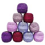 Multicolor algodón mercerizado 10 PC Crochet Hilados Tatting Madeja bordado Thread