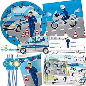 Dekospass set da 90 pezzi polizia per feste di for Piatti e bicchieri per feste bambini
