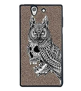 HiFi High Glossy Designer Phone Back Case Cover Sony Xperia Z :: Sony Xperia ZC6603 :: Sony Xperia Z L36h C6602 :: Sony Xperia Z LTE, Sony Xperia Z HSPA+ ( Skull Owl Art Tattoo Design )
