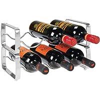 mDesign casier à bouteille (lot de 2) – range bouteille empilable en métal pour jusqu'à 3 bouteilles – porte bouteille…