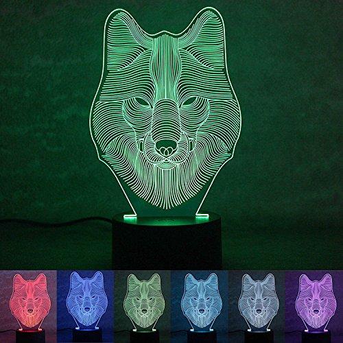 Wolf-taste (PAIGOU Wolf 3D optische Täuschung Schreibtischlampe 7 Farben ändern Touch-Taste USB Nachtlicht Produkt einzigartige Visualisierung Lichteffekte Kunst Skulptur Licht)