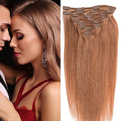 Clip in Extensions Echthaar günstig Haarverlängerung Remy Echthaar 8 Tressen 20 Clips Glatt 35cm-80g #18 Dunkelblond