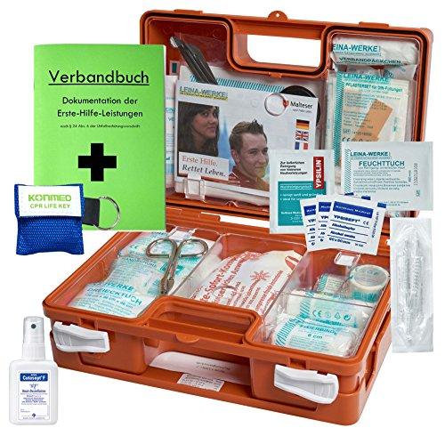 """Erste-Hilfe-Koffer M1 mit\""""Notfallbeatmungshilfe\"""" für Betriebe DIN/EN 13157 inkl. Verbandbuch & Hände-Antisept-Spray"""
