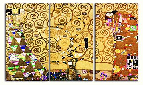 Legendarte P-258 Quadro di  Gustav Klimt - L\'Albero della Vita, Stampa digitale su tela, Multicolore, cm. 150 x 90 - 3 Pannelli
