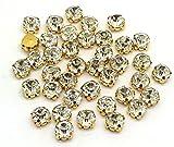 EIMASS® Strasssteine zum Aufnähen/Aufkleben, geschliffenes Glas, 100 Stück, Clear Crystal in Gold Casing, 5 mm (ss25)