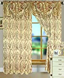 RT Designer Collection Reema Jacquard Double Rod Pocket Vorhang Panel mit Angesetztem 18Querbehang, 54x 84Zoll, Polyester, Gold, 84 x 54 x 0.25 cm