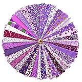 raylinedo® Stricknadel 20* 30CM SORTIERT vorgeschnittenen Druck Baumwolle Tuch Material gemischt Quadrate Bundle Quilt Stoff Patchwork für Heimwerker handgefertigt Craft, lila color Series