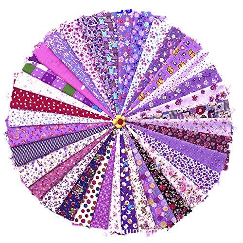 RayLineDou00ae-Stoff-Quadrate, 20u00a0x 30u00a0cm sortiert, vorgeschnittener Druck, Baumwollstoff, gemischte Designs, Patchwork, handgefertigt, zum Selberverarbeiten, verschiedene Violett- und Lila-Töne, 36 Stück