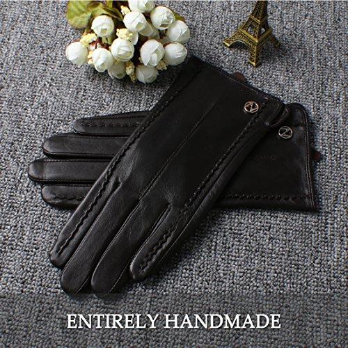 nappaglo women's classic véritable nappa des gants en cuir pur cachemire gants de simples garnitures (écran ou l'hiver chaud sans écran) brun foncé (Non-tactile)
