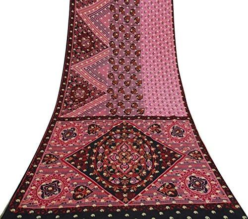Vintage indische Saree reiner Seide gewebt Gebrauchte Rosa Craft Stoff Ethnic Sari 5 Yds (Sari Seide Rosa)