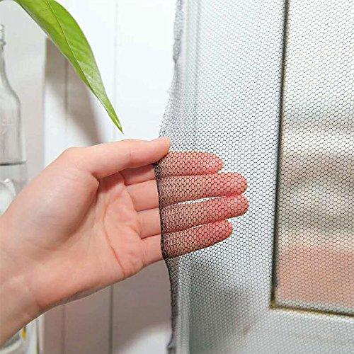 Flyzzz écran bricolage fenêtre auto-adhésif Netting Mesh Rideau, Taille: 100x150cm (approche 39.37x59.05 pouces), avec crochet et bande adhésive, Windows multiples Equipé (5-Pack, Noir)