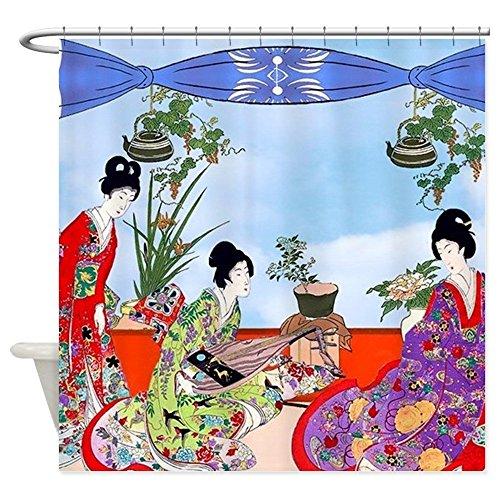 Geisha, Musiker, Kimonos.–Dekostoff Vorhang für die Dusche