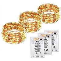 LE 3x Guirnalda de luces 6m 60 LED con Temporizador/ON/OFF Cadena de cobre impermeable IP65, Luces de navidad
