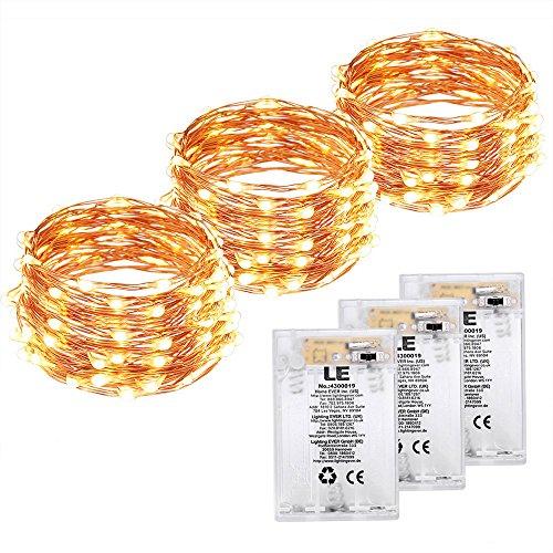 LE Guirnaldas de Luces a Pilas, 3pc 6m 60 LED con Temporizador,...