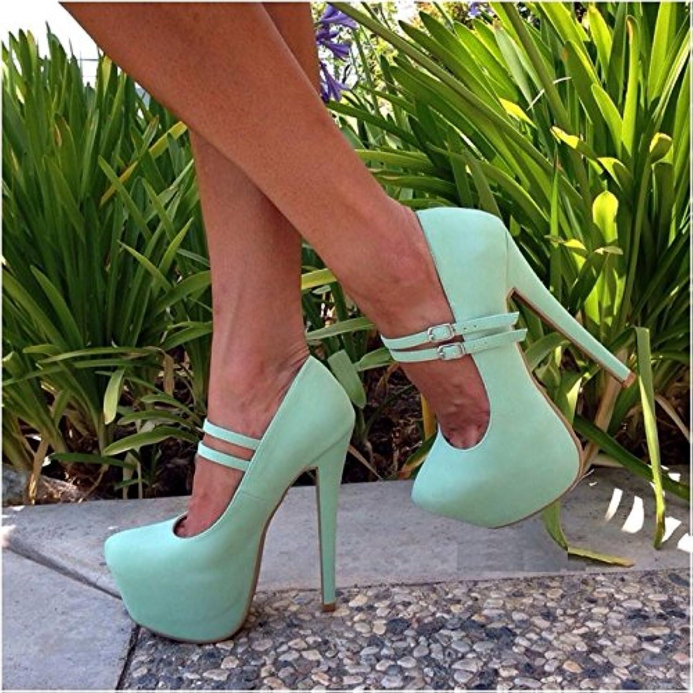 VIVIOO Prom Sandals Sandals Sandals Sweet Are,Beige (blu,nero) Cashmere Leather,Double Buckle Belt,14. 5 Cm High Heels,donna... | Prezzo ottimale  | Gentiluomo/Signora Scarpa  e9d145