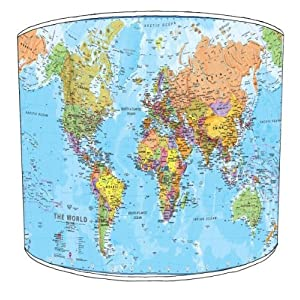 Premier Lampshades–Cuadro Shades de lámpara (Mapa del Mundo