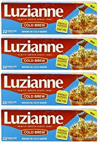 Luzianne Cold Brew Tea for Iced Tea (Pack of 4) 4.35 oz Size - That's 88 Tea Bags Total!