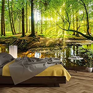 carta da parati foresta 366 x 254 cm legno alberi luce solare fotomurali poster gigante. Black Bedroom Furniture Sets. Home Design Ideas