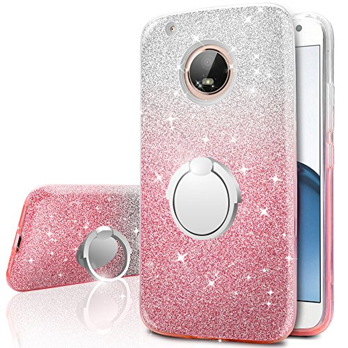 Moto G5 Plus Hülle, Moto G5 Plus Glitzer Hülle, Miss Arts Mädchen Glitzern hülle mit 360 Grad drehendem Ringständer, weiche Außenhülle aus TPU + harte Innenschale für Motorola G5 Plus -Pink