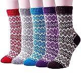 Justay 5 Paar Winter Wolle Damen Socken, Bunte Gemusterte Stricksocken