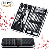 Fixget 18 Pcs Manicure Set, Professionale Manicure & Pedicure Set Tagliaunghie Set Chiodo Clipper in Acciaio Inox Forbici unghie Grooming Kit Manicure Comprende Cuticola Remover Strumenti con Portable Travel Case (18Pcs Nero)