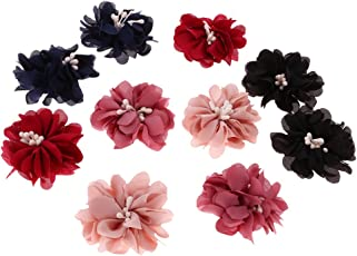 Segolike 10 Pieces Multicolor Sewing Fabric Flower Embellishment Decoration for DIY Clothes Hair Bow Applique #1