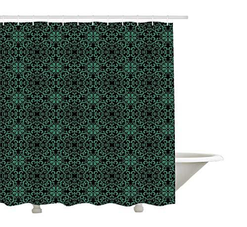 GWFVA Tenda Doccia orientali Verde, caleidoscopio Geometrico Asiatico Ispirato Motivo a Foglie Curve Motivo piastrellato, Decorazione Tessuto Bagno in Tessuto con Ganci, Giada Verde e Nero