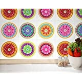 Pegatinas para Azulejo Pared de Cocina Decoratión Mandala Estilo Asiático (Caja de 24) - 20 x 20 cm
