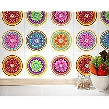 Adhesivos para Azulejos - Paquetes con 24 (15 x 15 cm, Pegatinas Azulejos, Azulejos Mandalas, Decoración Mandalas, Adhesivos Mandalas, Azulejos para Pisos, Vinilos Decorativos)