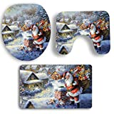 SYY 3 STÜCKE Weihnachten Deckel Wc-abdeckung Bad Rutschfeste Sockel Teppich Badematte Set (B)